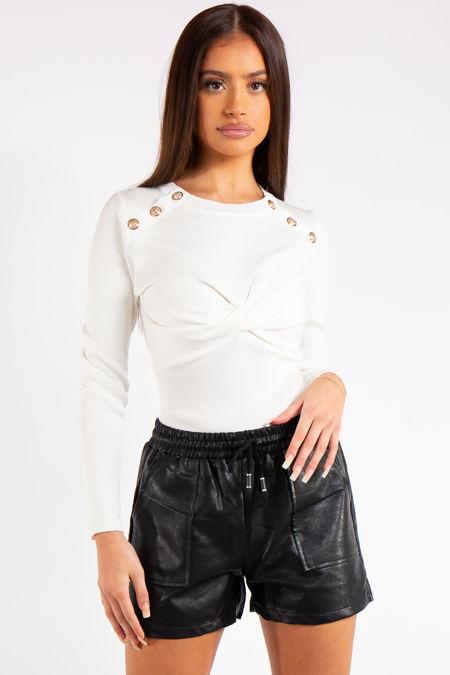 Courtney White Knitted Button Bodysuit