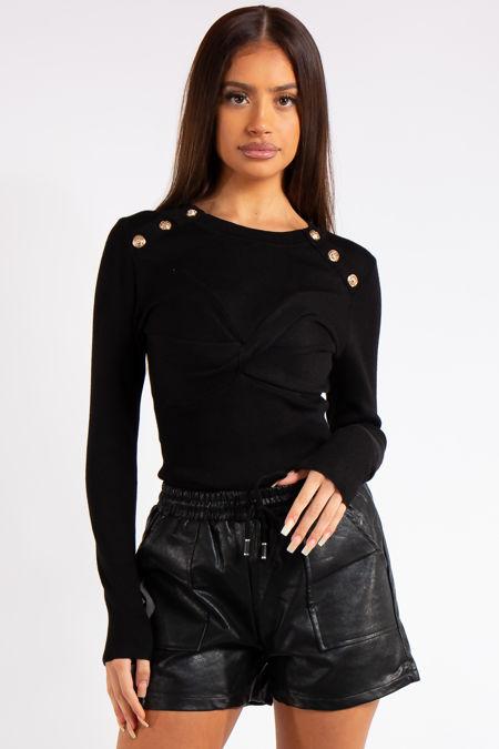 Courtney Black Knitted Button Bodysuit