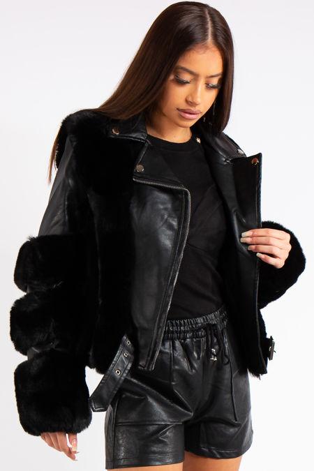 Kenya Black Faux Fur & leather Jacket