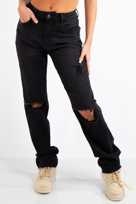 Evalyn Denim Black Straight Leg Jeans
