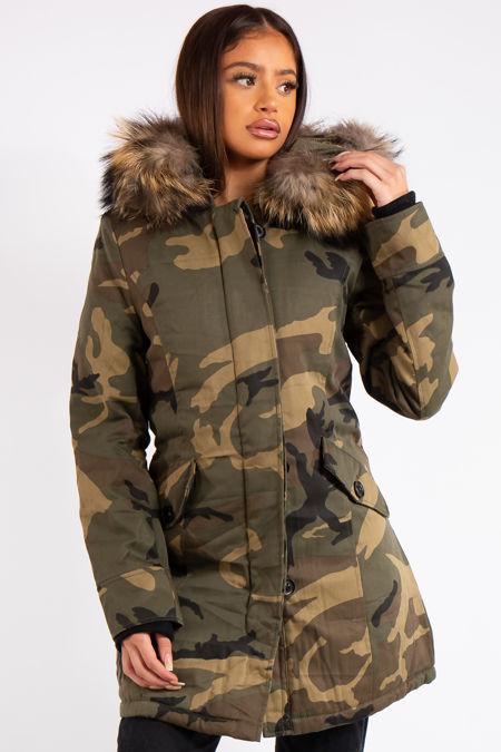 Florence Camo Faux Fur Hood Parka Coat
