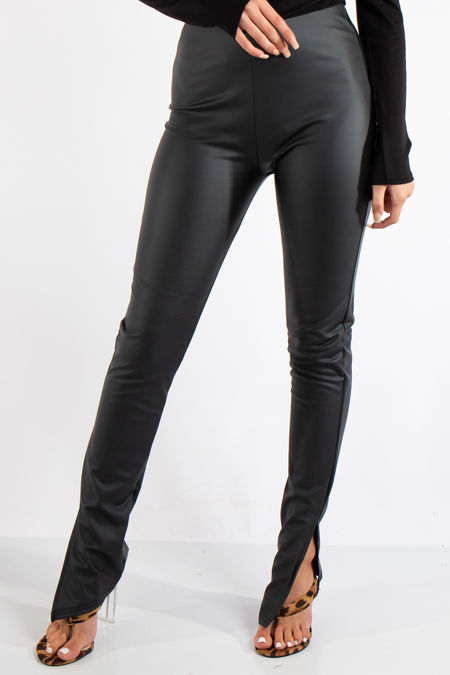 Ellison Black Faux Leather Side Split Leggings