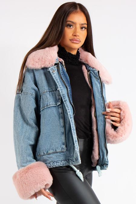 Emerald Pink Faux Fur Blue Denim Jacket