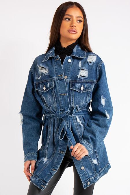 Desiree Blue Denim Longline Belted Distressed Denim Jacket