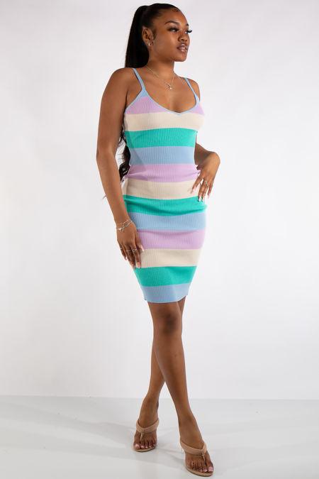 Leyla Purple Pastel Rainbow Mid Dress