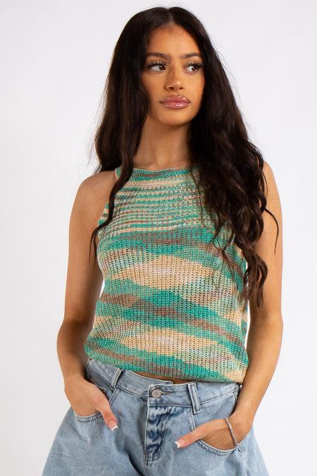 Delilah Green Stripe Knitted Sleeveless Top