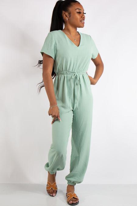 Gabriella Sage Green Basic Jumpsuit