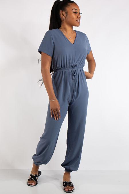 Gabriella Denim Blue Basic Jumpsuit