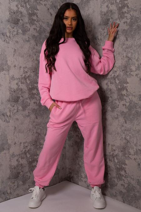 Hollie Pink Sweatshirt and Jogger Lounge Set