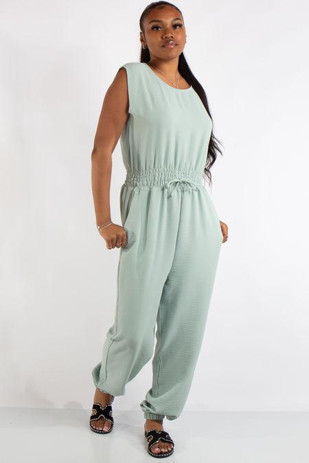 Abbi Green Sleeveless Elastic Waist Jumpsuit