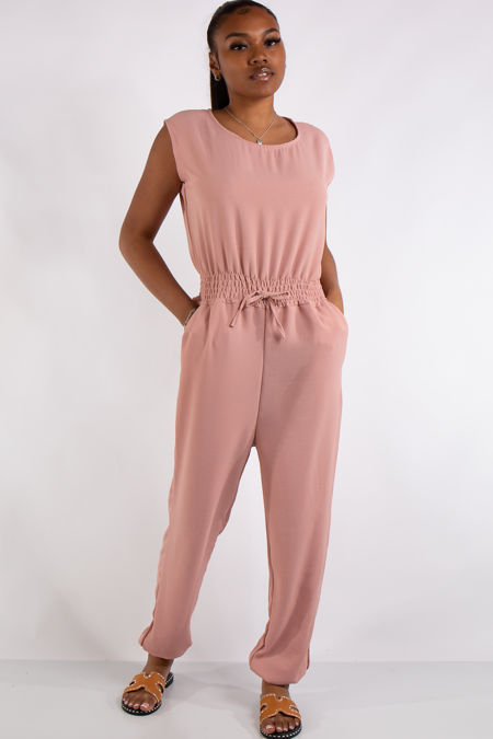 Abbi Pink Sleeveless Elastic Waist Jumpsuit