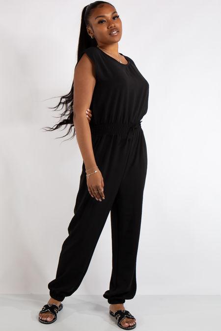 Abbi Black Sleeveless Elastic Waist Jumpsuit