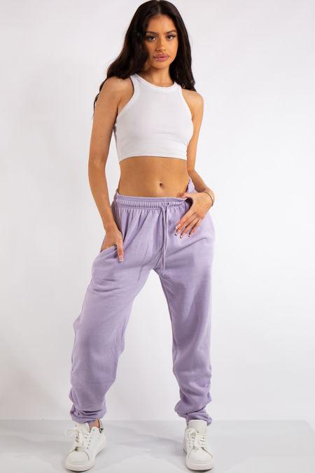 Aurelia Lilac Ruched Detailing Basic Joggers