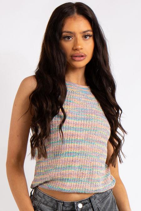 Delilah Blue Stripe Knitted Sleeveless Top