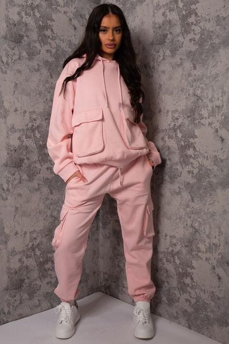 Luna Baby Pink Pocket Detail Hooded loungewear set