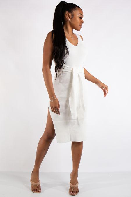Hailey White Ribbed Slit Bodycon Dress