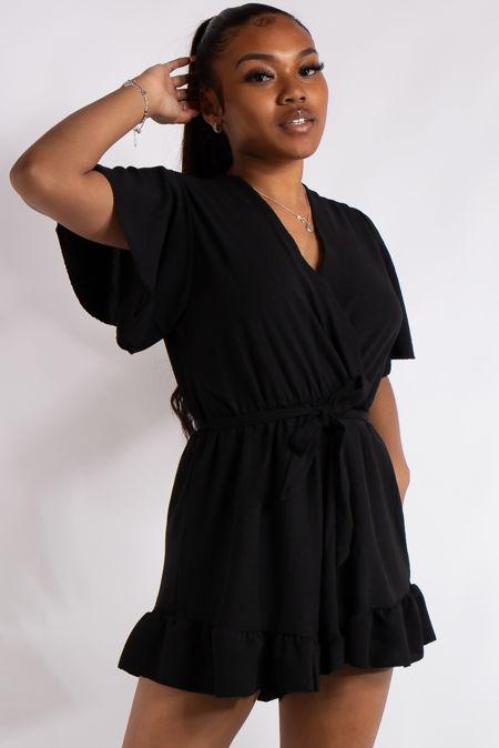 Gianna Black Basic Ruffle Playsuit