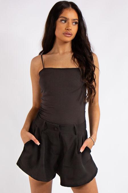 Ruby Black Slinky Super Soft Strappy Bodysuit
