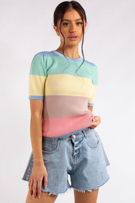 Serenity Pastel Rainbow Stripe Top