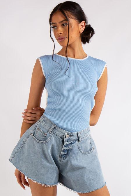 Klara Pale Blue Backless Ribbed Bodysuit