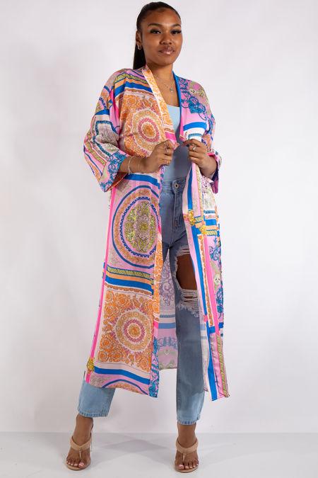 Pink Scarf Print Kimono