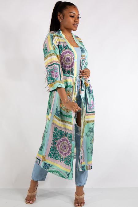 Green Scarf Print Kimono