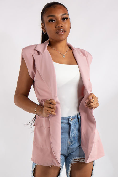 Kinsley Pink Sleeveless Blazer Waistcoat