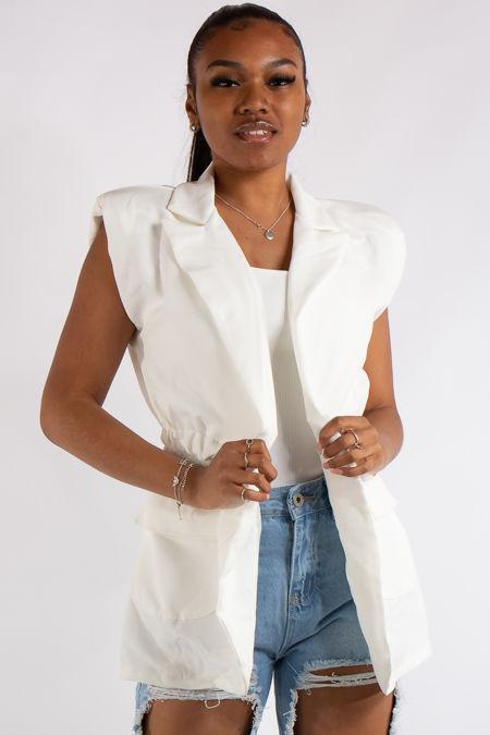 Kinsley White Sleeveless Blazer Waistcoat