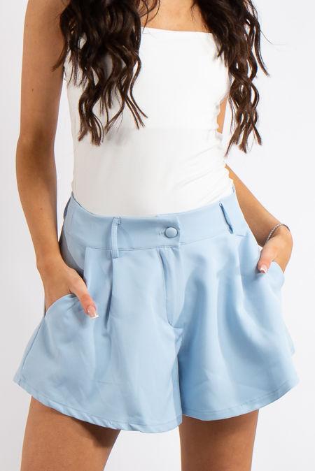 Tinley Baby Blue Flared Pocket Shorts