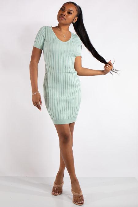 Piper Green Ribbed Basic Mid Dress