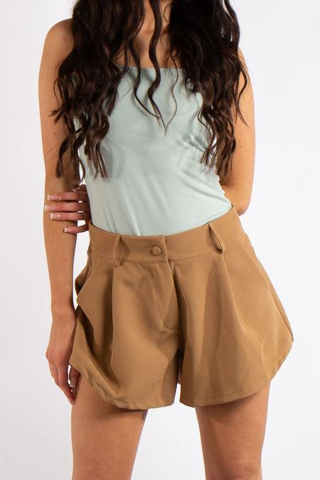 Tinley Camel Flared Pocket Shorts