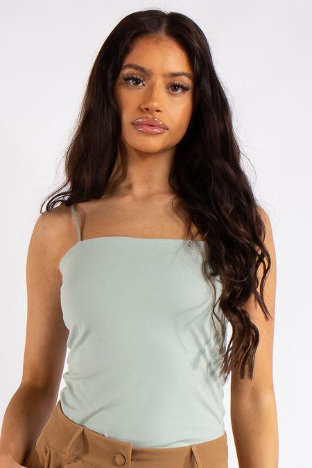 Ruby Sage Green Slinky Super Soft Strappy Bodysuit
