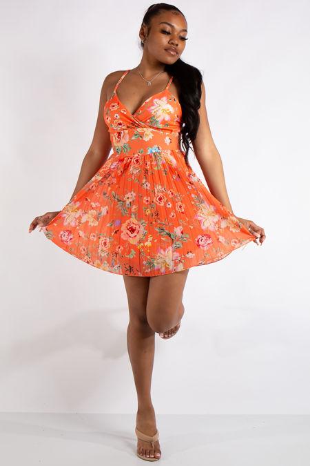 Ivy Orange Floral Print Pleated Mini Dress