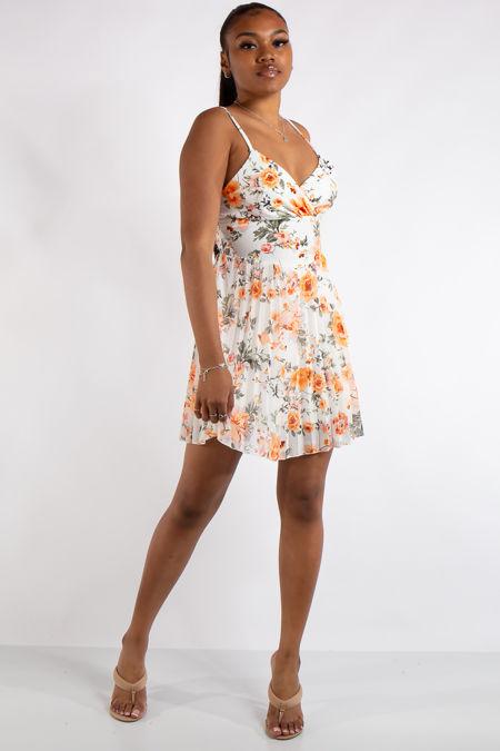 Ivy White Floral Print Pleated Mini Dress