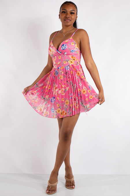 Ivy Pink Floral Print Pleated Mini Dress