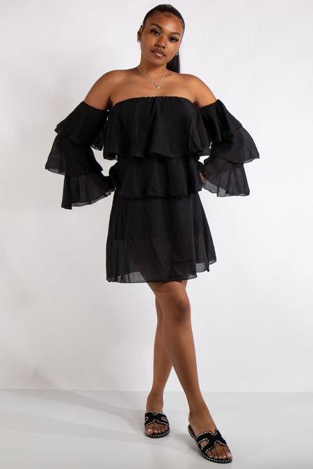 Clara Black Bandeau Ruffle Dress