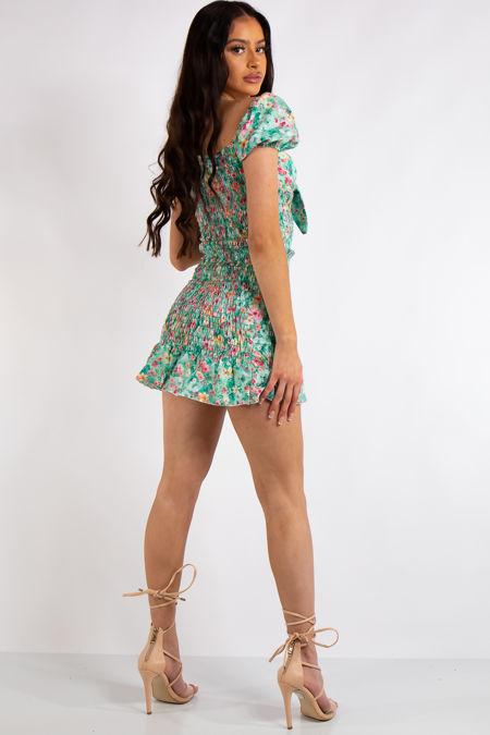Samantha Green Floral Print Smocked Cupped Mini Dress