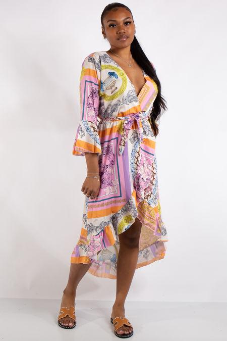 Kennedy Orange Scarf Print Midi Dress