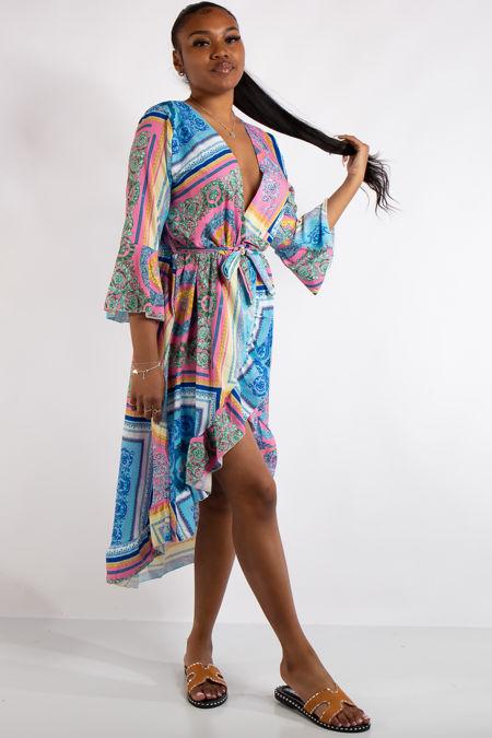Kennedy Pink Scarf Print Midi Dress