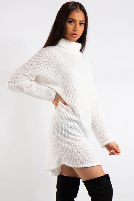 Mara White Soft Knit Jumper Dress