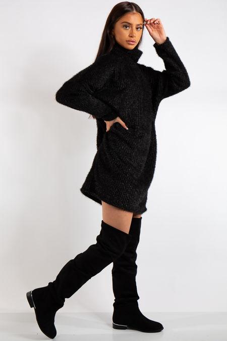 Mara Black Soft Knit Jumper Dress