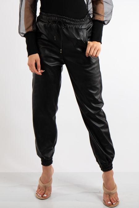 Marina Black PU Elasticated Trousers