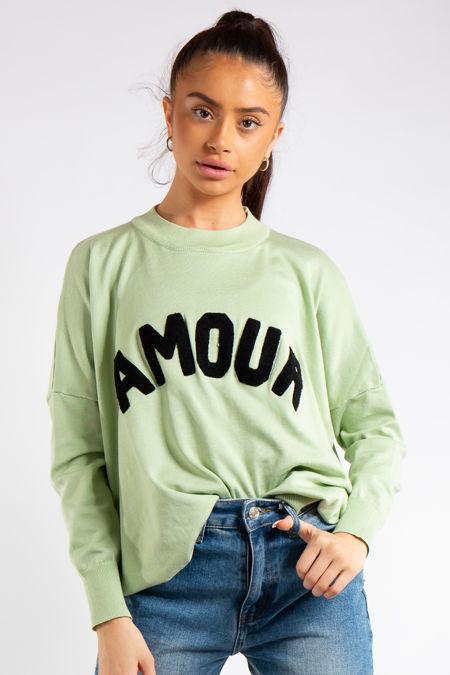 Reina Mint Green Amour Slogan Crew Neck Knitted Jumper