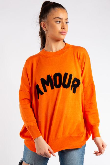 Reina Orange Amour Slogan Crew Neck Knitted Jumper