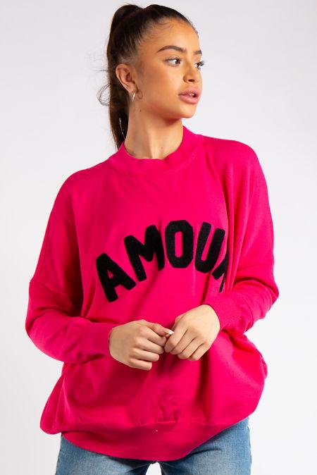 Reina Fuchsia Pink Amour Slogan Crew Neck Knitted Jumper