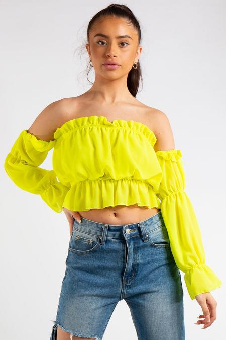 Kenza Neon Yellow Bandeau Chiffon Ruffle Crop Top
