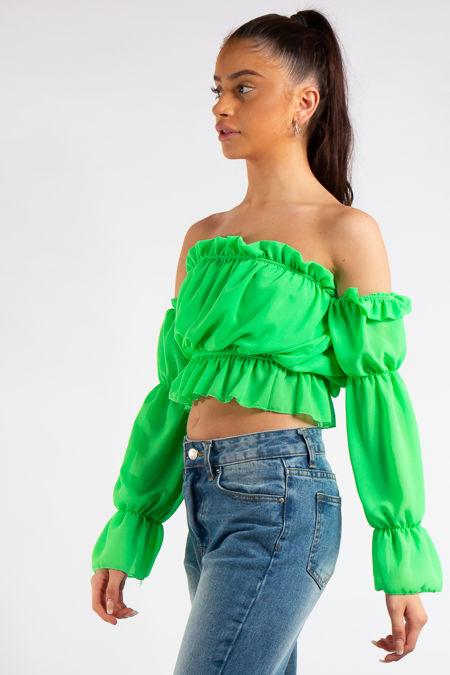 Kenza Neon Green Bandeau Chiffon Ruffle Crop Top