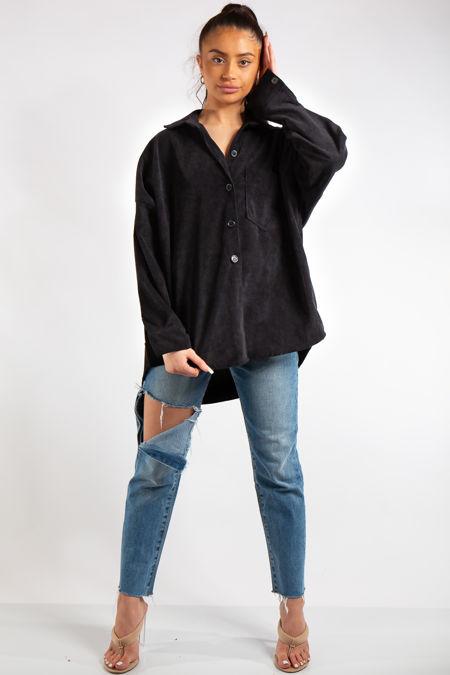 Ellen Black Collard Corduroy Shirt