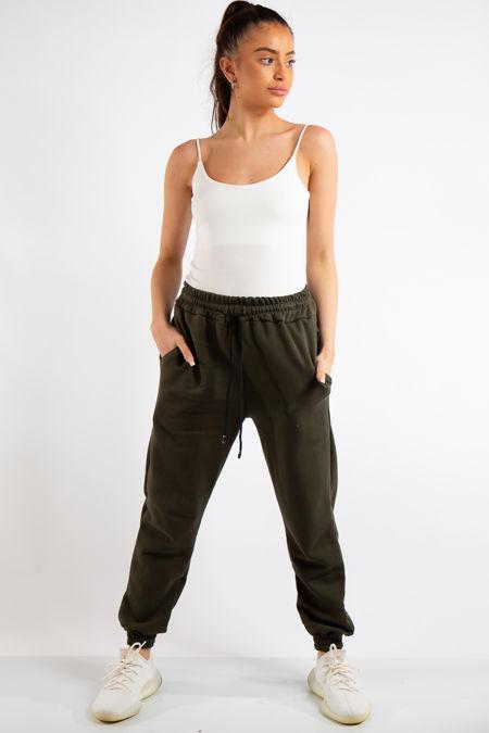 Tenley Khaki Plain Jogger Pants