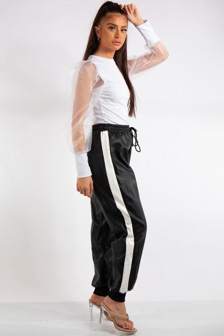 Teresa Black and White stripe Detail PU Elasticated Trousers